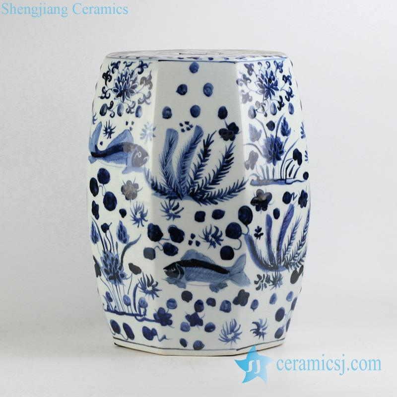 Six side blue and white fish and aquatic planter pattern ceramic stool