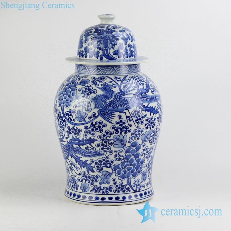 hand paint phoenix blue and white porcelain hotel jar