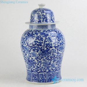 RYNQ196-B Hand paint blue and white floral porcelain container