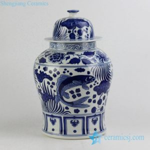 RYNQ196-C Dark blue color carp and lotus leaf pattern ceramic ginger jar