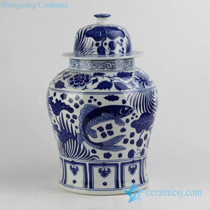 blue and white fish and lotus leaf pattern ceramic ginger jar