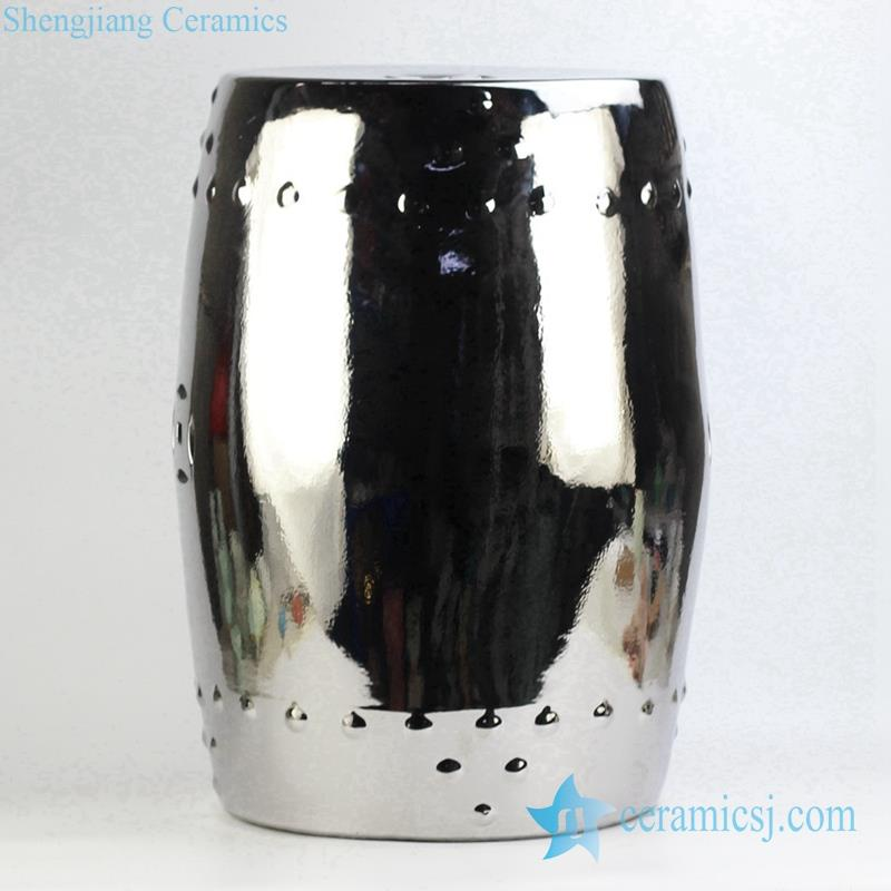 silver plated drum nail design ceramic stool