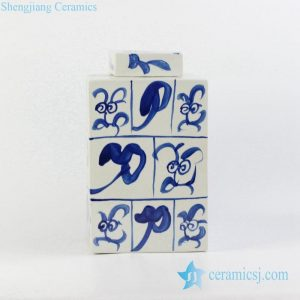 RYQQ10-B Chinese calligraphy pattern hand paint ceramic box jar