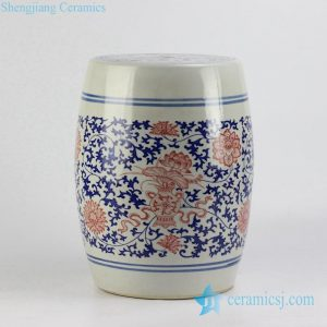 RYSP06-A red lotus mark blue and white ceramic barrel stool