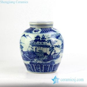 RYVM24 Blue and white hand paint pavilion ceramic container jar
