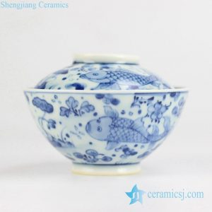 RYWD21-B Hand paint fish pattern noodle bowl with bowl lid