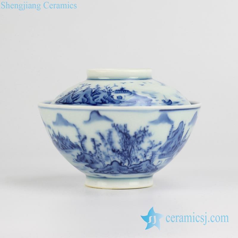 landscape pattern hand paint ceramic soup bowl