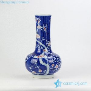 RYWG10 Blue and under glaze red tubular shape Jingdezhen porcelain flower vase