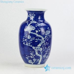 RYWG12 Hand paint winter sweet pattern wax gourd shape elegant blue white ceramic vase