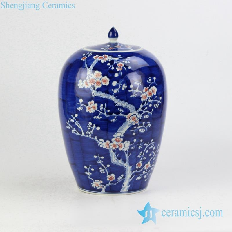 porcelain red plum blossom hand paint candle jar