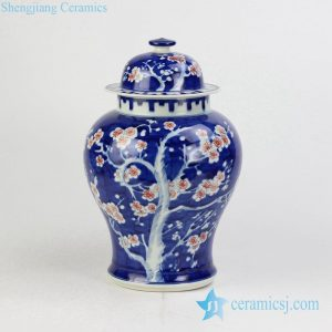 RYWG14 Hand paint blue white hand paint red flower pattern factory direct outlet low price ceramic ginger jar