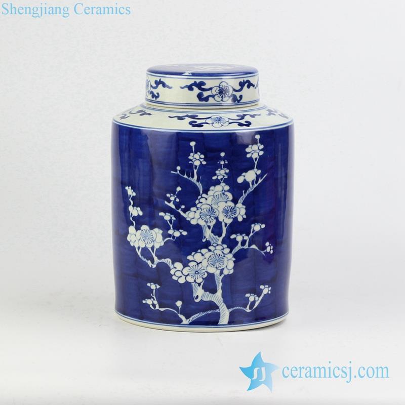 round blue and white porcelain tin jar