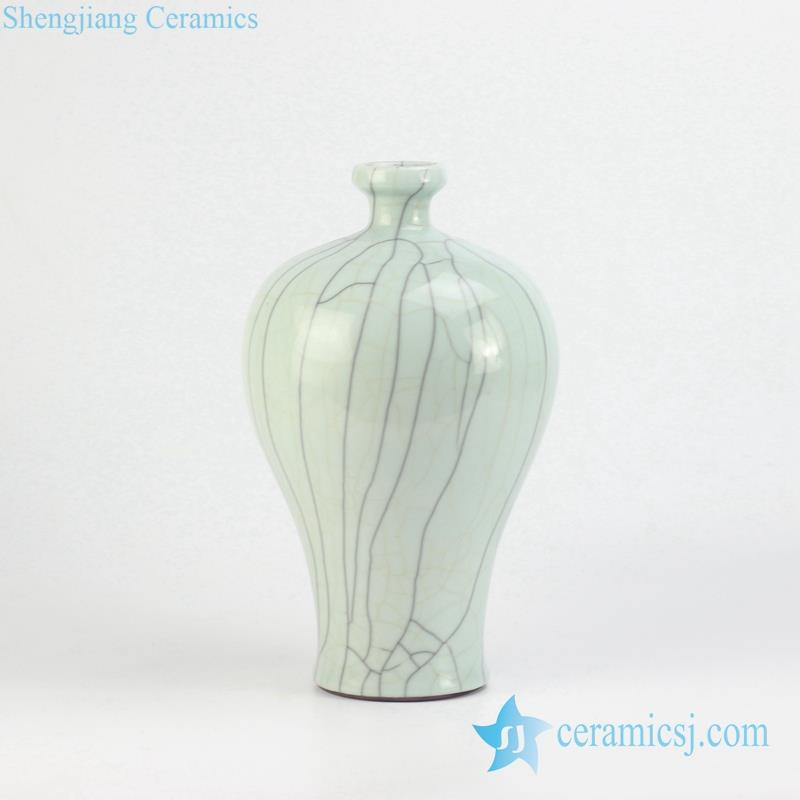 crackle glaze short and small neck ceramic lime green vase