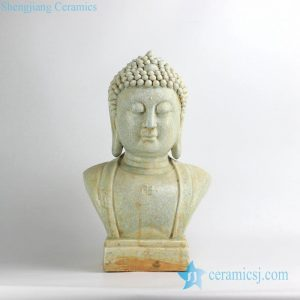 RZEI09 Antique finished crackle glaze porcelain Buddha half length portrait figurine