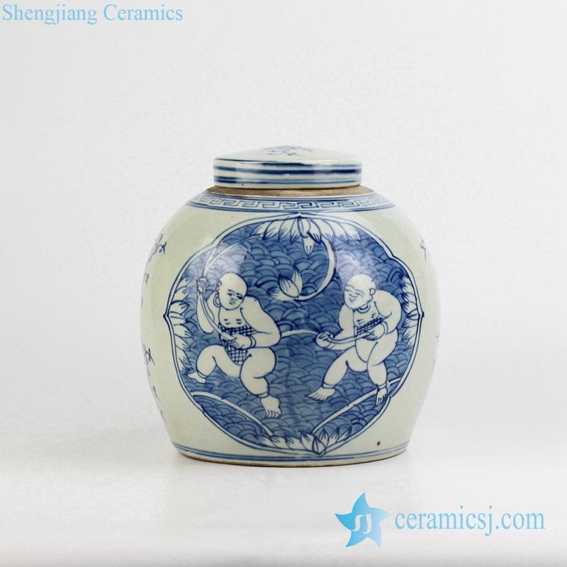 Kids pattern ceramic jar
