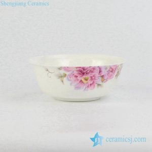 RZHF04-A Dinner ware peony flower pattern high quality bone china ceramic soup bowl