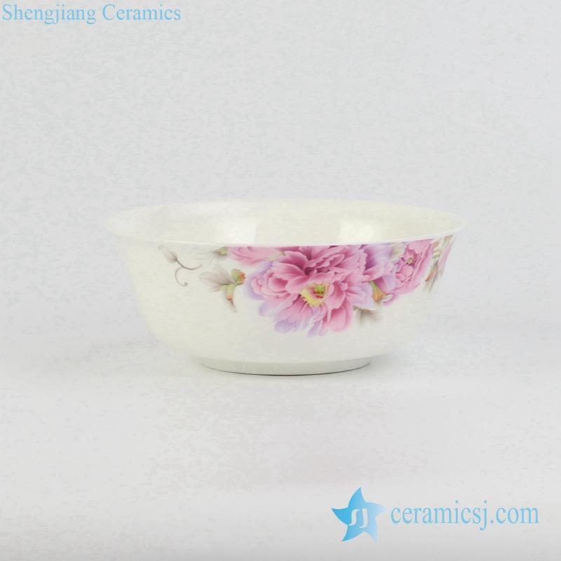 pink flower pattern porcelain bowl