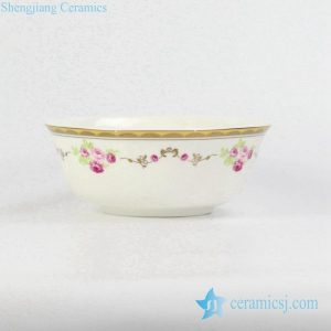 RZHF04-B Table top gold line rose pattern ceramic bowl