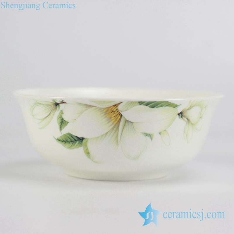 elegant white lily flower pattern ceramic household bowl