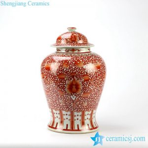 RZIH04 Red and white hand paint floral pattern ceramic ginger jar