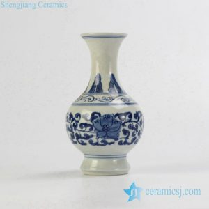 RZIQ06 Blue and white small ceramic hand paint vase