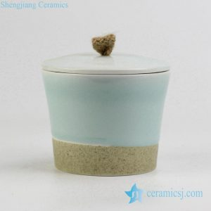RZIV04 Crude clay celadon light green ceramic tea jar
