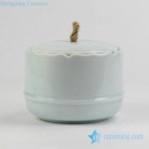 RZIV05 Hemp cord lid celadon glaze porcelain tea jar