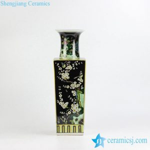 RZJH04 Black ground hand paint blue bird and plum blossom pattern ceramic square shape vase