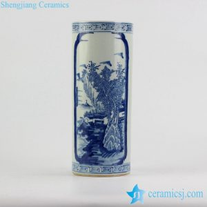 RZJI01 Chinese style blue and white hand paint landscape pattern porcelain rain umbrella stand