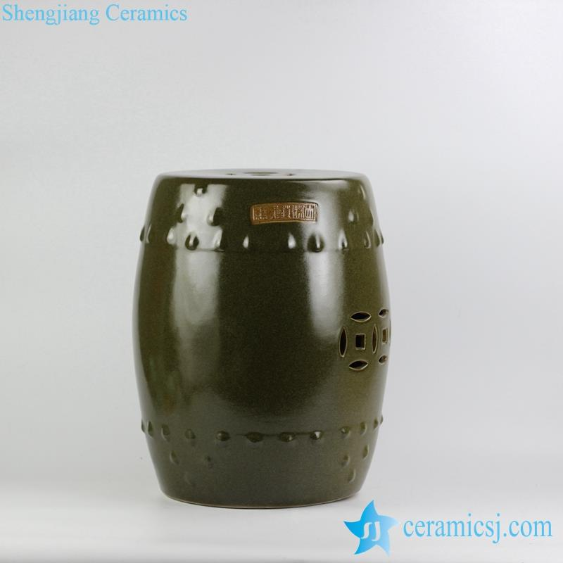 solid color tea dust glaze ceramic garden stool