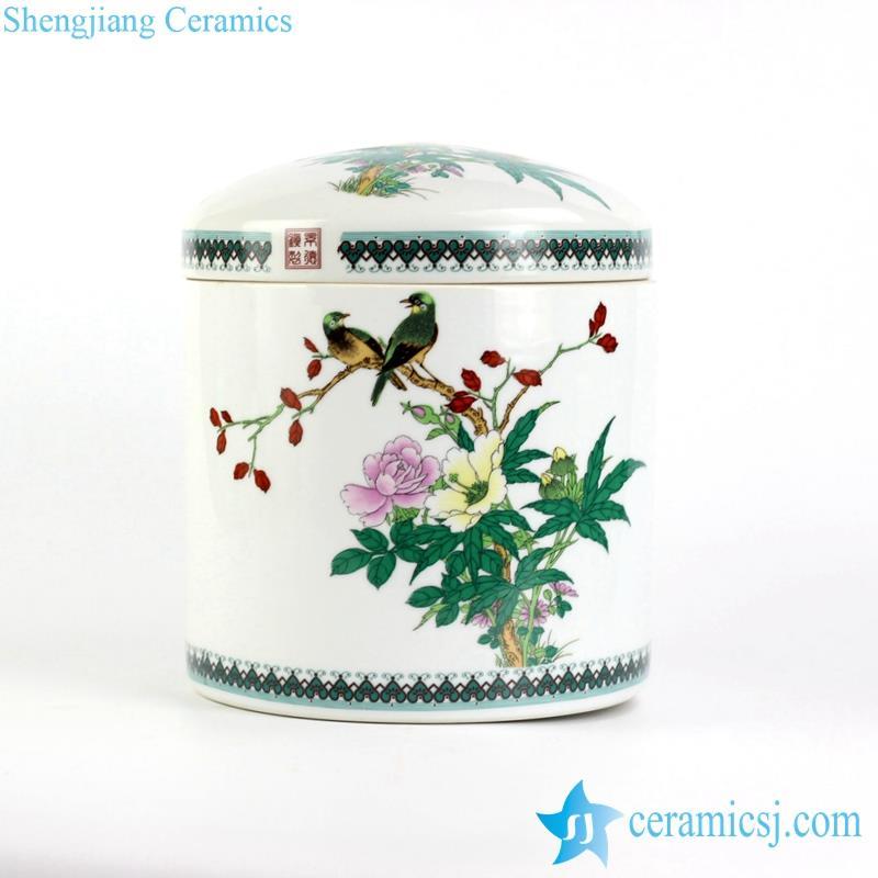 colorful bird floral porcelain tin jar
