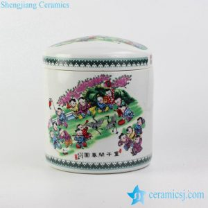 RZJL01-B Happy children pattern multi color ceramic jar