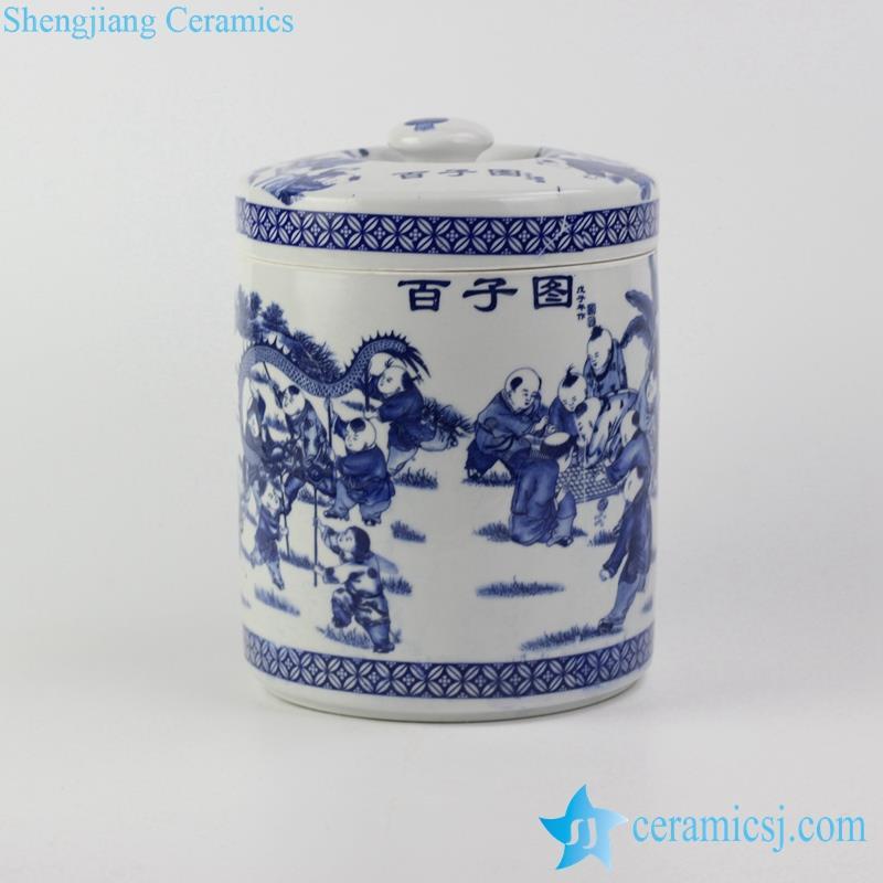 blue and white hundred of children pattern ceramic tin jar