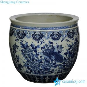 RZJM01 Under glaze blue high temperature fired peacock peony pattern extra large porcelain fish bowl
