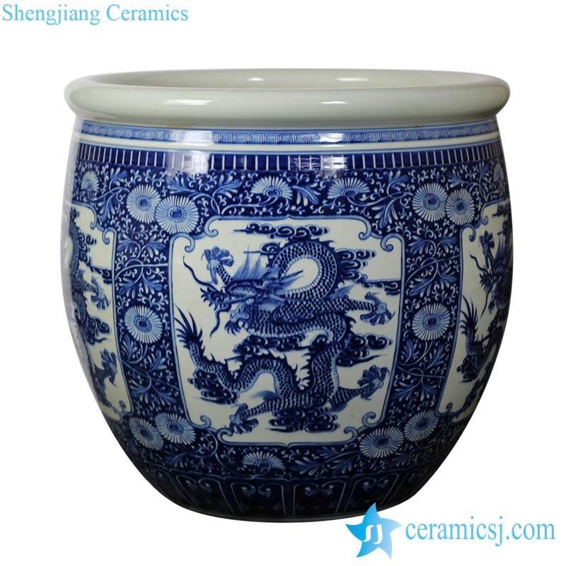 flying dragon pattern ceramic plant pot