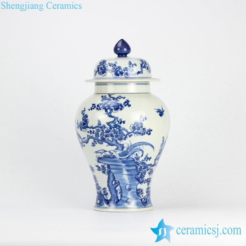 elegant hand paint bird flower drawing porcelain ginger jar
