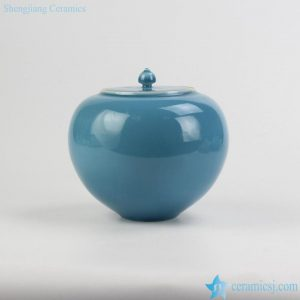 RZJR02 Apple shape cute blue solid color chinaware spice jar