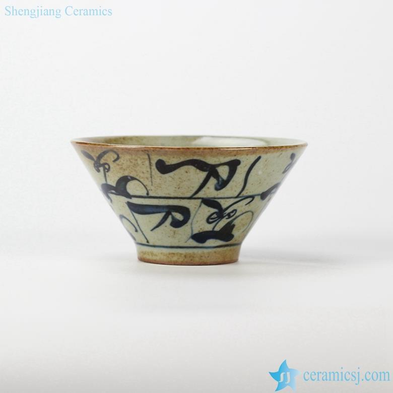 China original style hand paint calligraphy blue and white pottery soup bowl