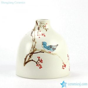 RZJT01 Big volume hand paint bird and branch pattern colorful matte finish vase