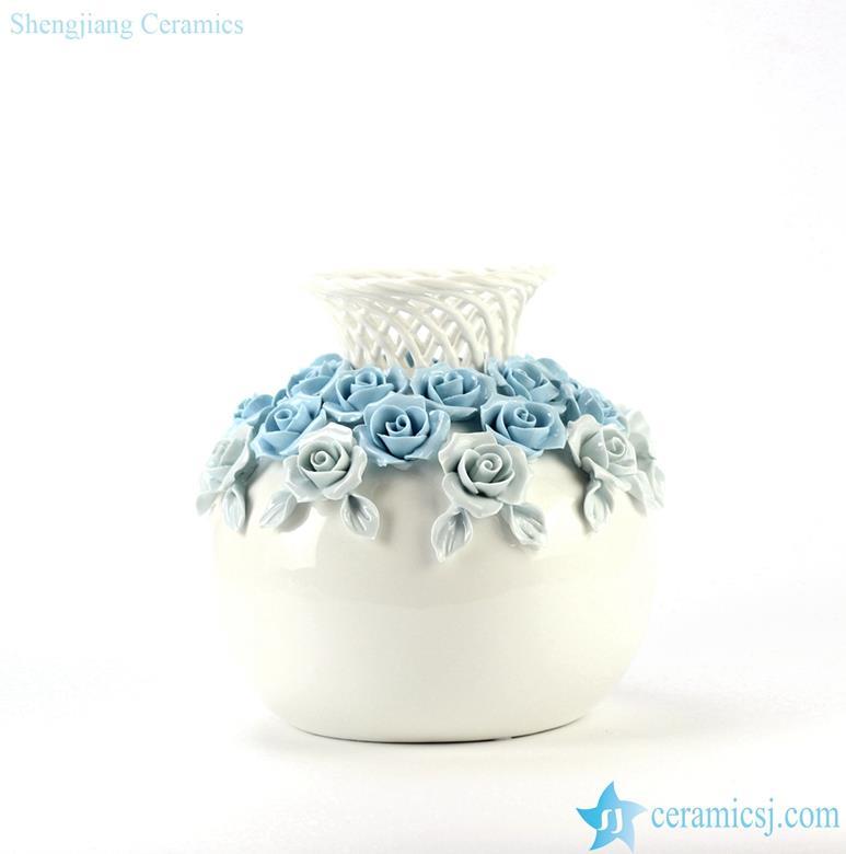 Elegant clay weaving neck unique design ceramic vase
