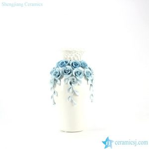 RZJU03 Sculpture rose decorated weaving neck design modern ceramic vase