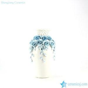 RZJU03 Sculpture rose decorated weaving neck design modern ceramic vase