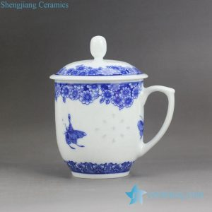 RZJW01-B Flower butterfly mark Jingdezhen rice pattern ceramic tea mug with lid