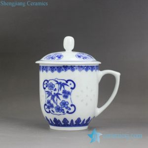 RZJW01-C Blue and white bamboo flower rice pattern porcelain office mug