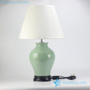 RZJX02 Celadon glaze plain color ceramic table lamp with fabric pleated lamp shade