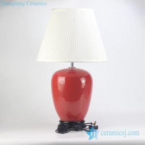 RZJX03 Red crackle glaze ceramic bed side lamp with wooden base and shade
