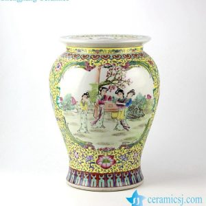 RZJo01 Chinese ancient lady pattern hand paint famille rose ceramic preserve jar