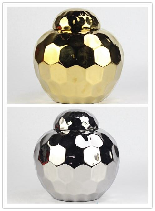 glittering gold and silver plated ceramic storage jar