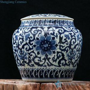 RZFQ04 Big size under glaze blue China floral ceramic storage jar for online shopping