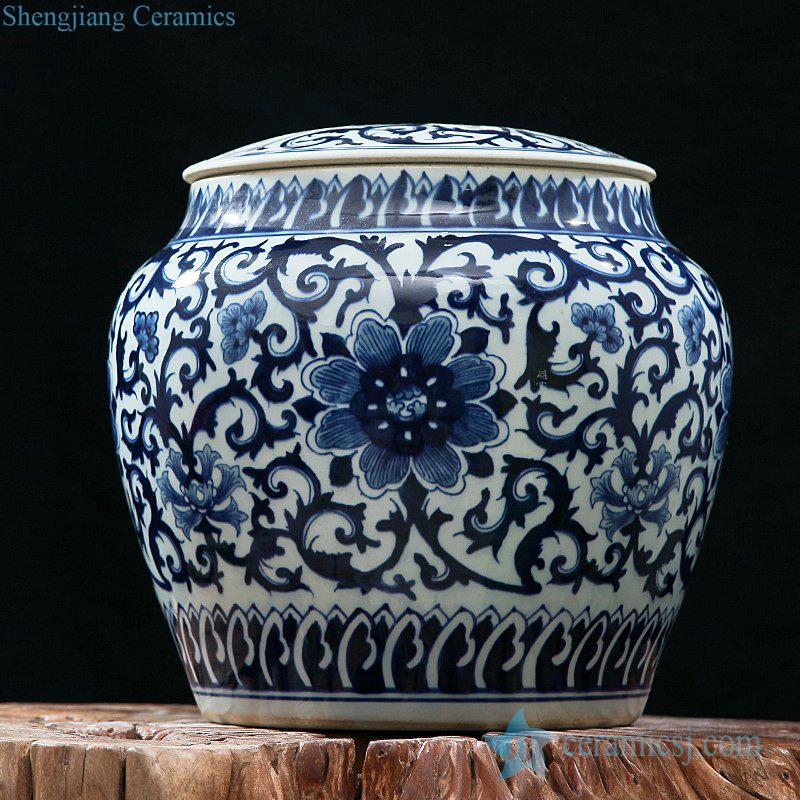 Made in China wholesaler dark blue floral porcelain storage jar with lid